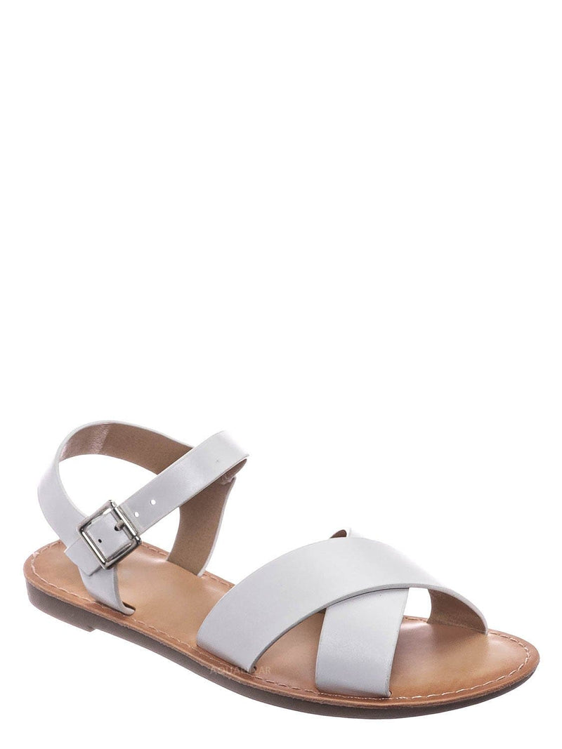 White / Tire2 Children Girl Open Toe Flat Sandal w Ankle Strap