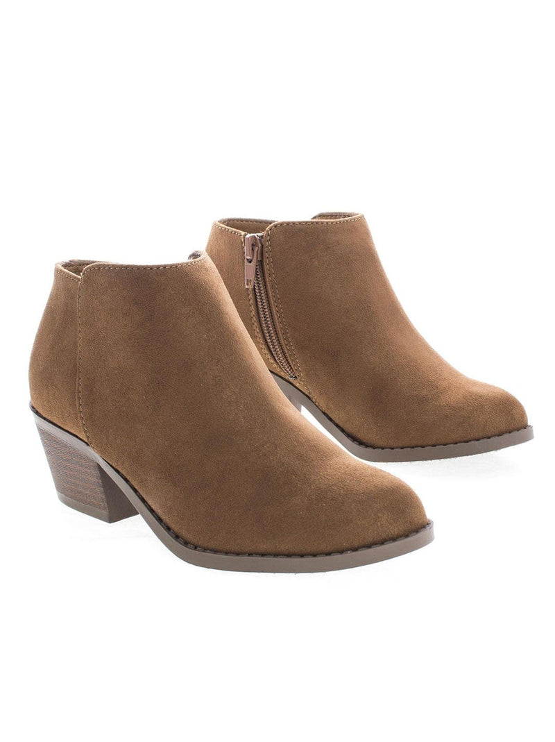Cognac Suede / MugIIS Girls Simple Ankle Bootie - Children Kids Round Toe Block Heel Boots