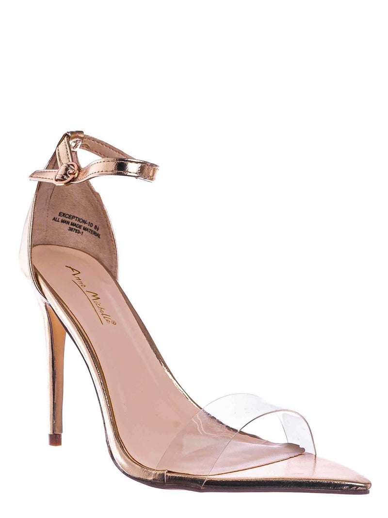 Gold Metallic / Exception10 Lucite Neon Stiletto Sandal - Women Clear High Heel Pointed Toe Shoe
