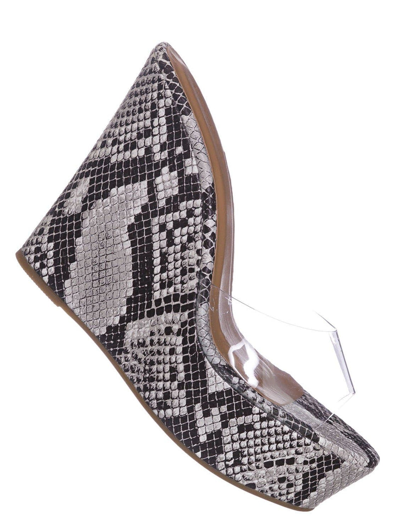 Black Snake / Choice40 Black Snake Lucite Clear Platform Wedge Sandal - Cork & Hologram Snake
