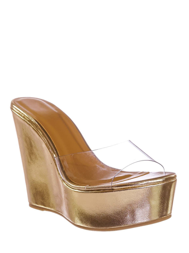 Gold / Choice40 Gold Lucite Clear Platform Wedge Sandal - Cork & Hologram Snake