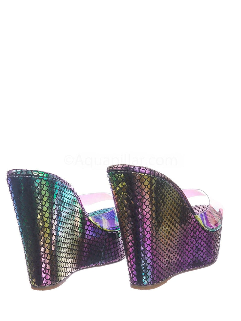 Multi Hologram Snake / Choice40 Multi Hologram Snake Lucite Clear Platform Wedge Sandal - Cork & Hologram Snake