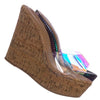 Natural Cork / Choice40 Natural Cork Lucite Clear Platform Wedge Sandal - Cork & Hologram Snake