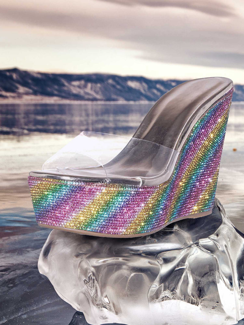 Chosen12 Lucite Rhinestone Platform Wedge - Clear Transparent Slipper Sandal