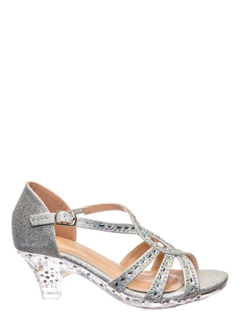 Silver Glitter / Lyla6 Girls Rhinestone Crystal Sandal- Childrens Open Toe Glass Heel Sandals