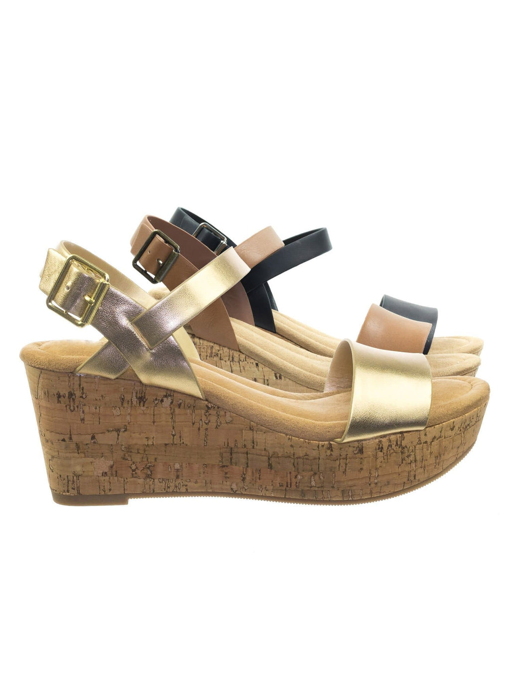 Air LtGoldCork Cork Platform Wedge Sandal w Soft Comfortable Foam Padding