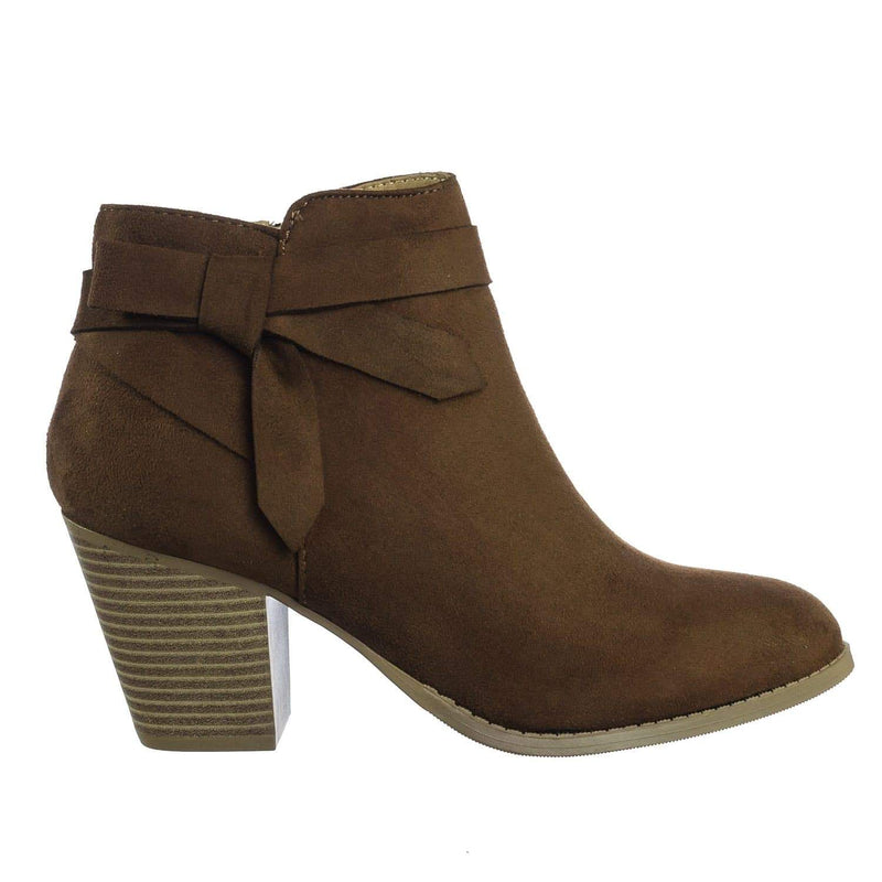 Arden CogImsu Chunky Stack Block Heel Ankle Bootie w Bow