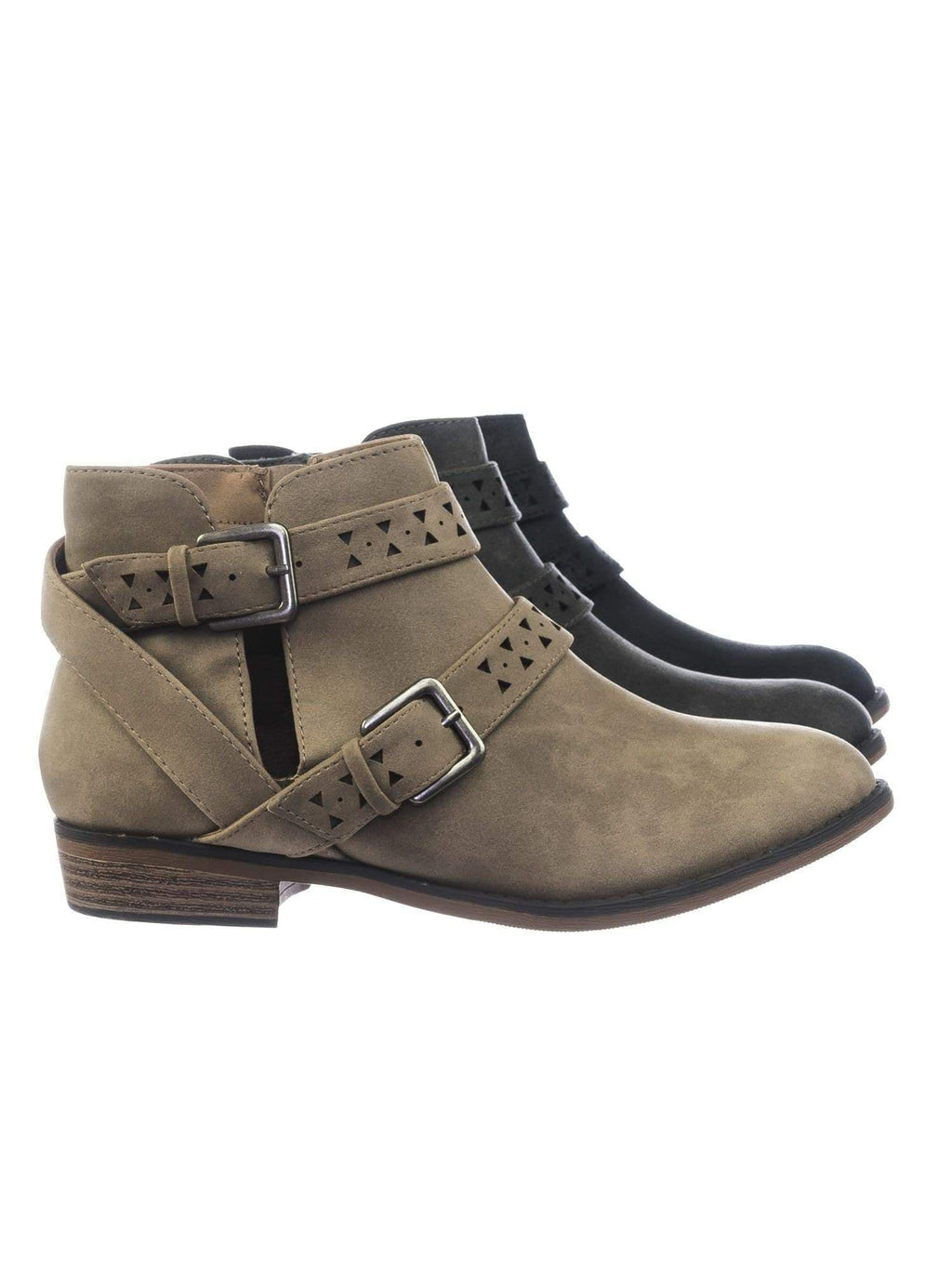 Bay LTpeDist Women Western Ankle Bootie w Belted Detail Open Side & Perforated Cutout