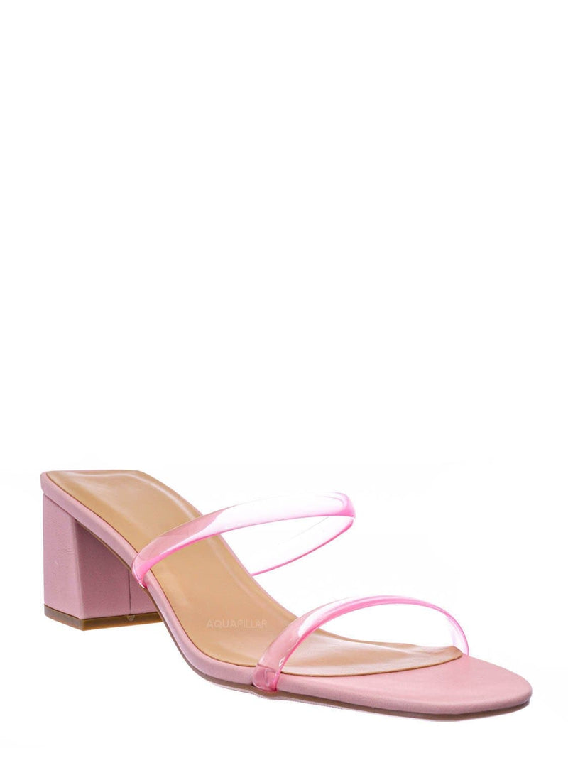 Pink Clear / Cameo Jelly Strappy Heel Slide Mules - Women Transparent Square Open Toe Slipper