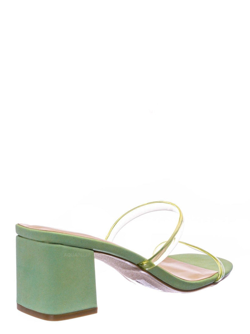 Mint Green / Cameo Jelly Strappy Heel Slide Mules - Women Transparent Square Open Toe Slipper