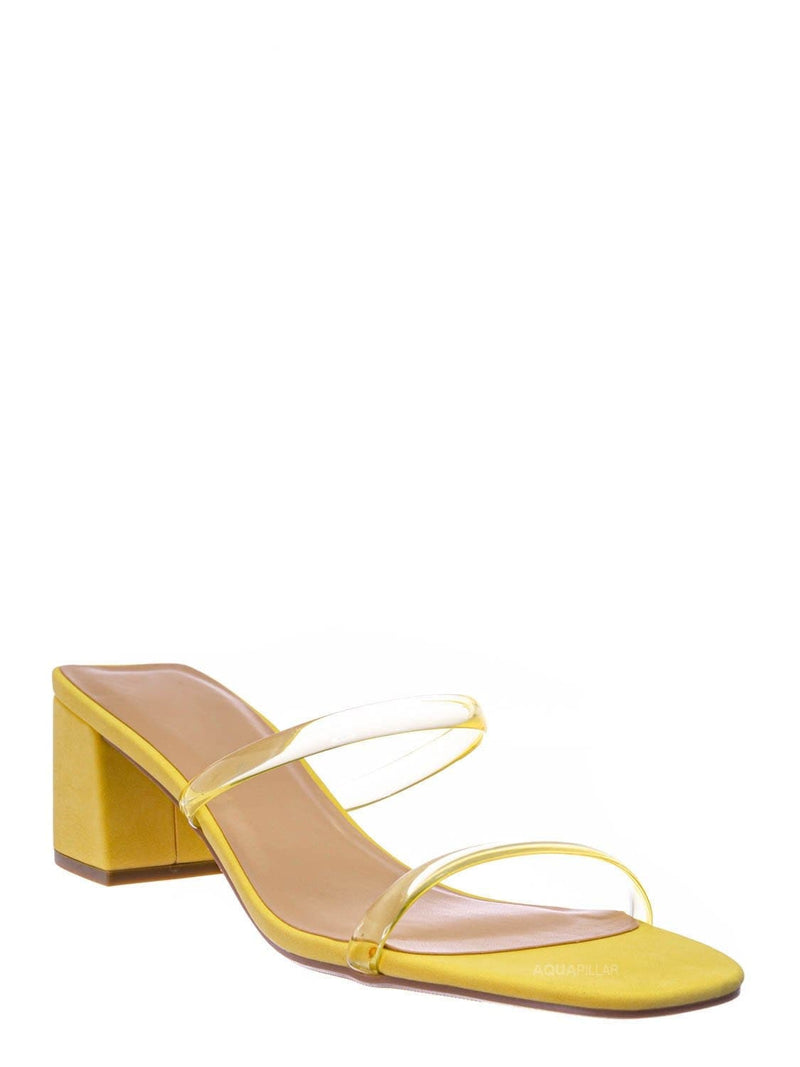 Lemon Yellow / Cameo Jelly Strappy Heel Slide Mules - Women Transparent Square Open Toe Slipper