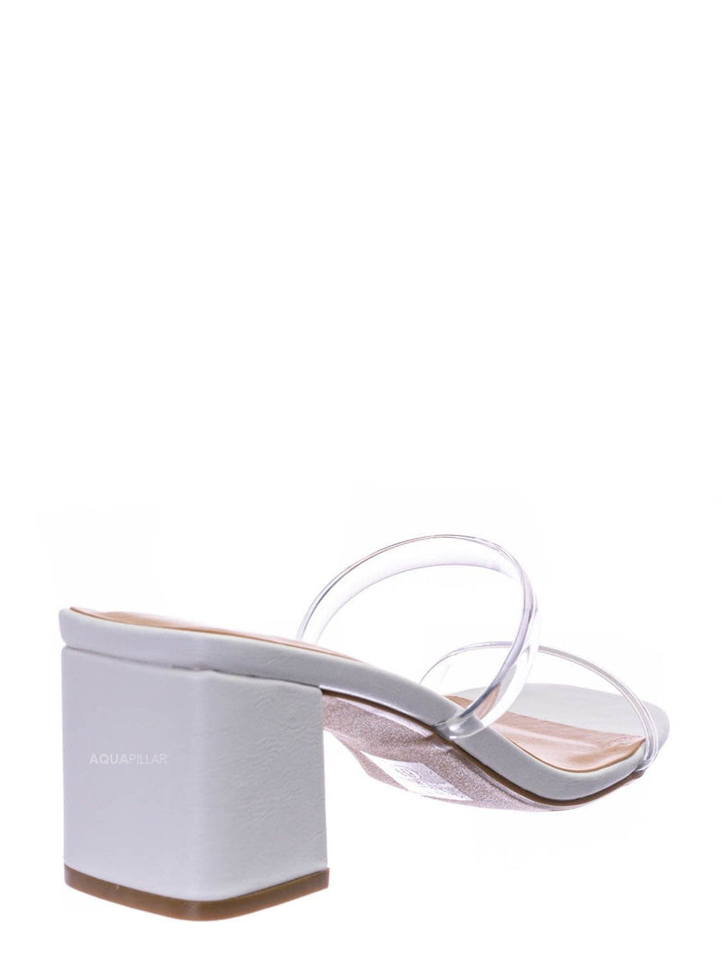 White Clear / Cameo Jelly Strappy Heel Slide Mules - Women Transparent Square Open Toe Slipper