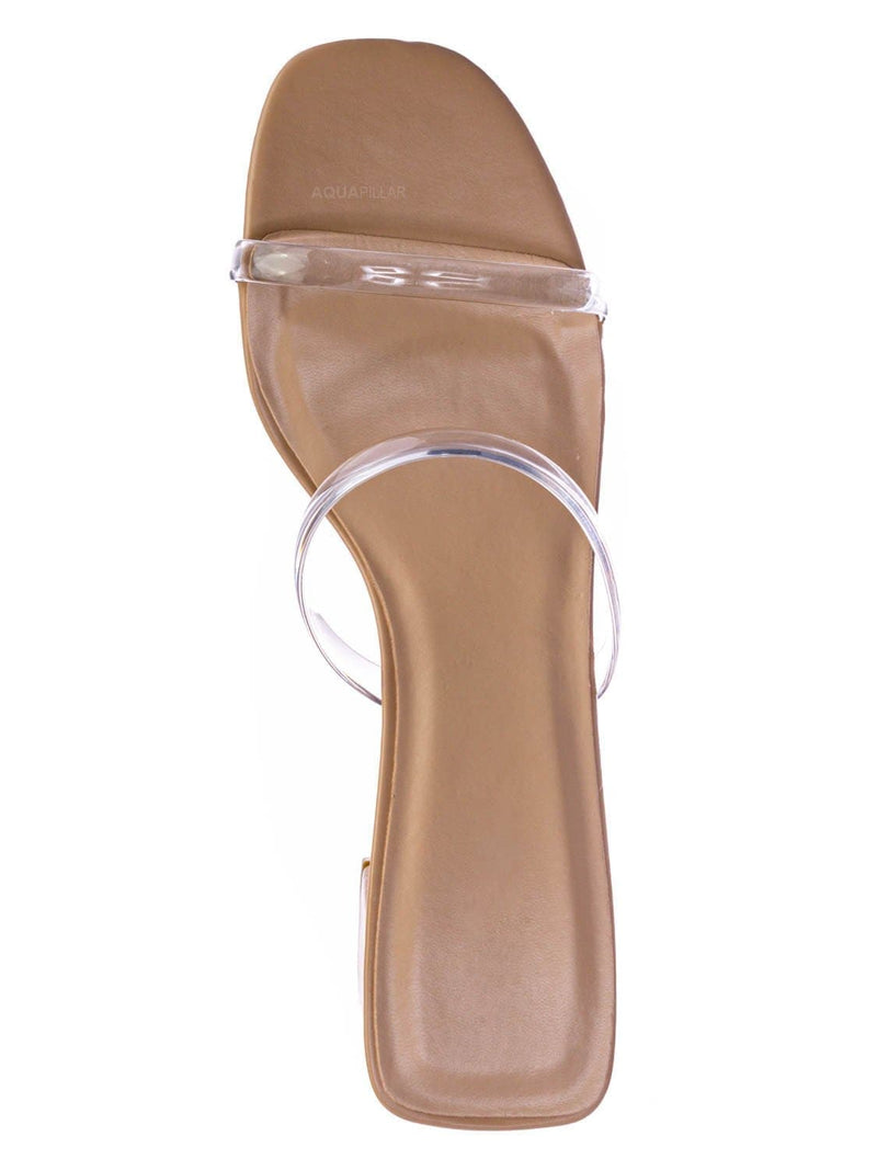 Nude Beige / Cameo Jelly Strappy Heel Slide Mules - Women Transparent Square Open Toe Slipper