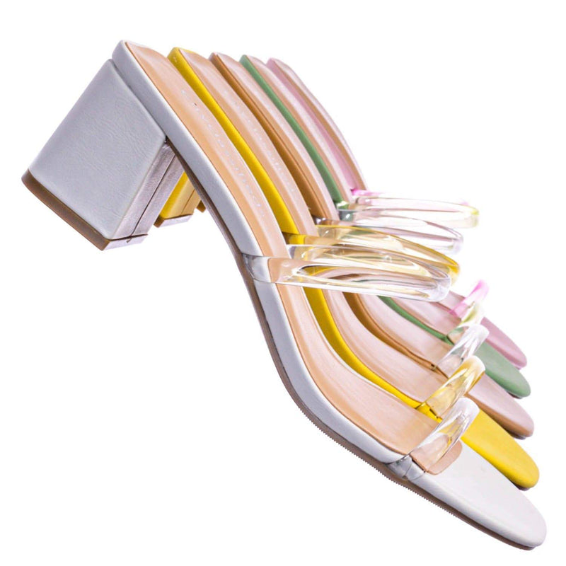 Cameo Jelly Strappy Heel Slide Mules - Women Transparent Square Open Toe Slipper