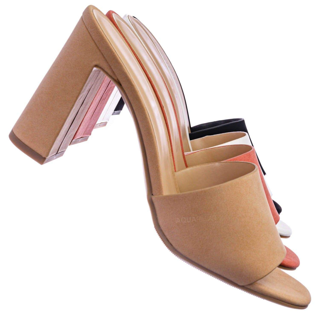 Clutch Mule Chunky Heel Sandals - Womens Dressy Ankle High Open Toe Slides