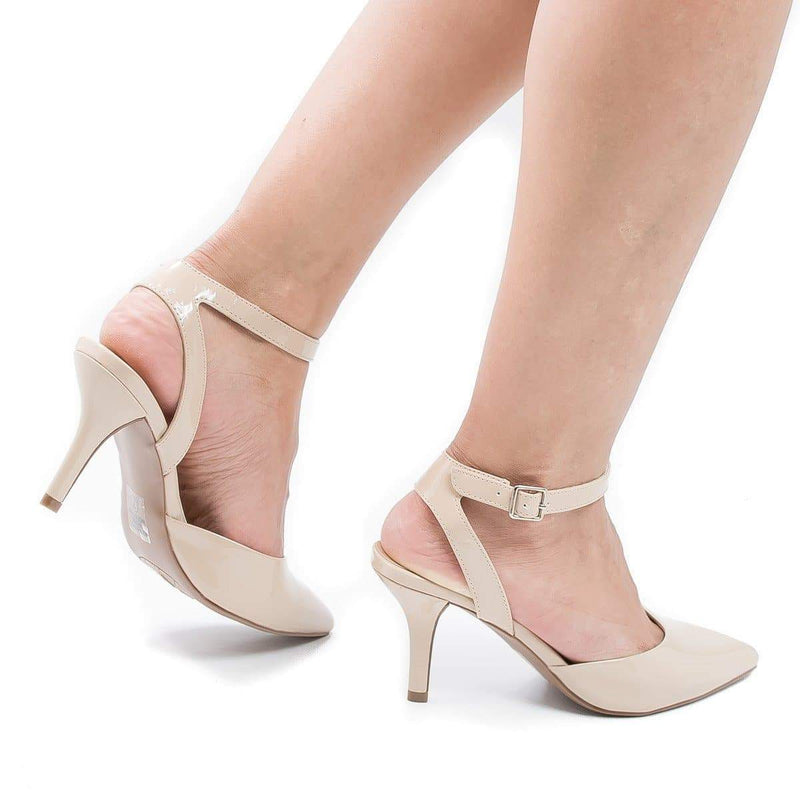 Don Beige Patent By City Classified, Pointy Toe Sling Back Comfort Stiletto Heel Pump