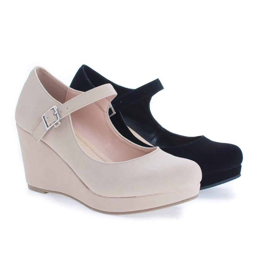 Mark By City Classified, Round Toe Mary Jane Platform Wedge Sandals