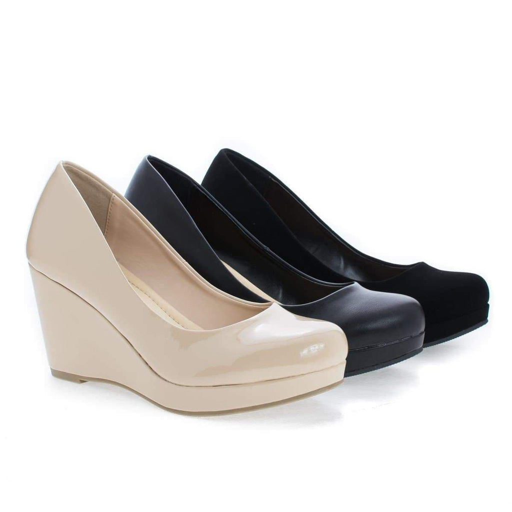 Thomas Black By City Classified, Extra Comfort Classic Round Toe Platform Wedge Heels