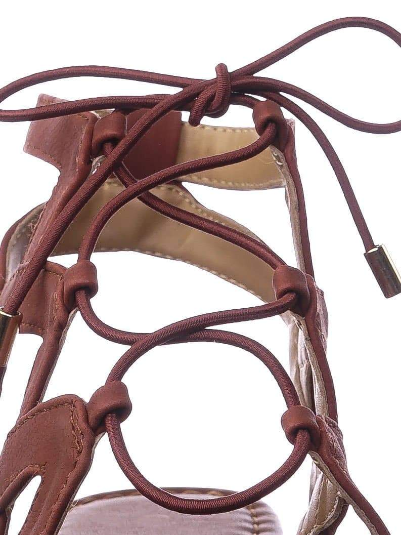 Convoy DRustNb Roman Gladiator Strappy Elastic Lace Up Cutout Sandals, Women Shoes