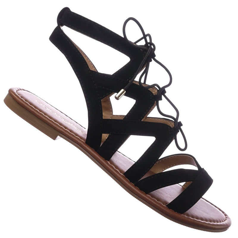 Convoy BlackNbPu Roman Gladiator Strappy Elastic Lace Up Cutout Sandals, Women Shoes