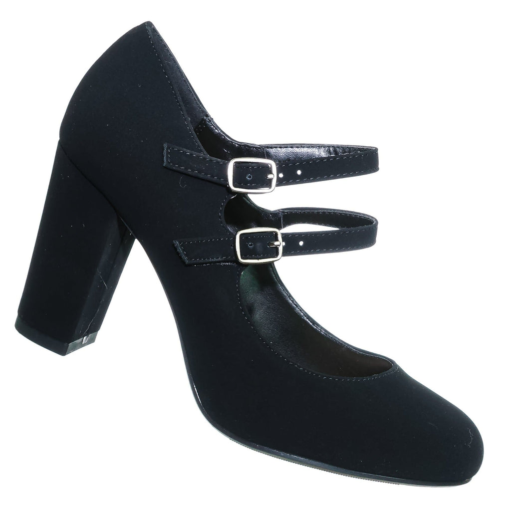 Black / Curt Black Comfort Padded Mary Jane Pump - Women Double Strap Office Shoes