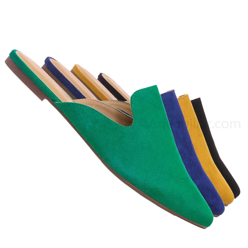 Emerald Green / Design EmrIsu Pointed Toe Flat Mule - Women Dressy Slip On Backless Loafer Slipper