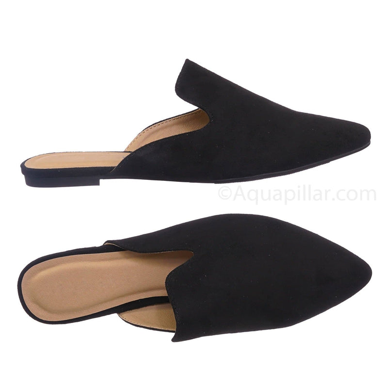 Black Pu / Design BlackIsu Pointed Toe Flat Mule - Women Dressy Slip On Backless Loafer Slipper