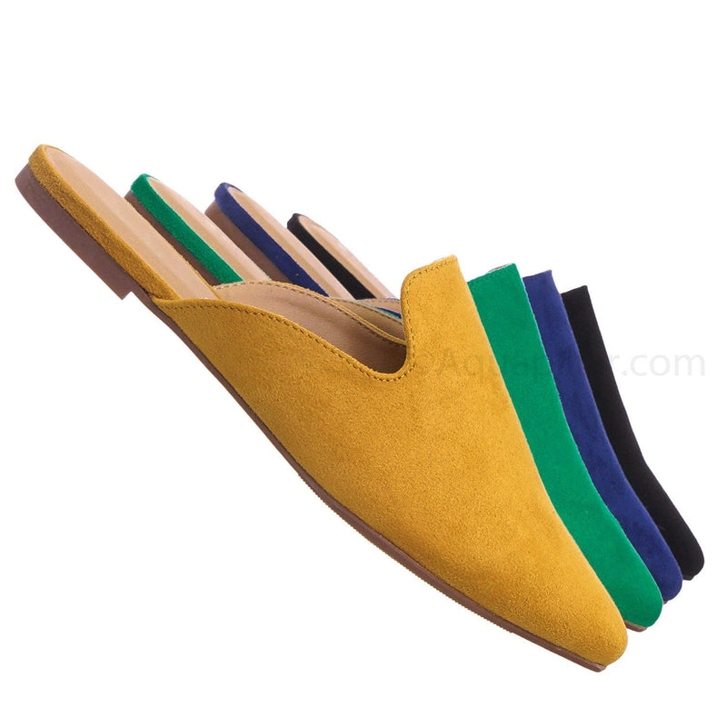 Mustard Yellow / Design MstrIsu Pointed Toe Flat Mule - Women Dressy Slip On Backless Loafer Slipper