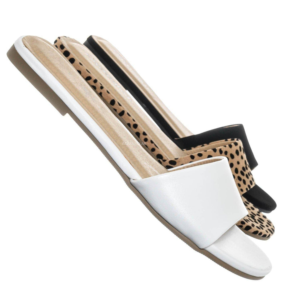 White / Fair Flat Open Toe Slide Sandals - Women One Band Slipper