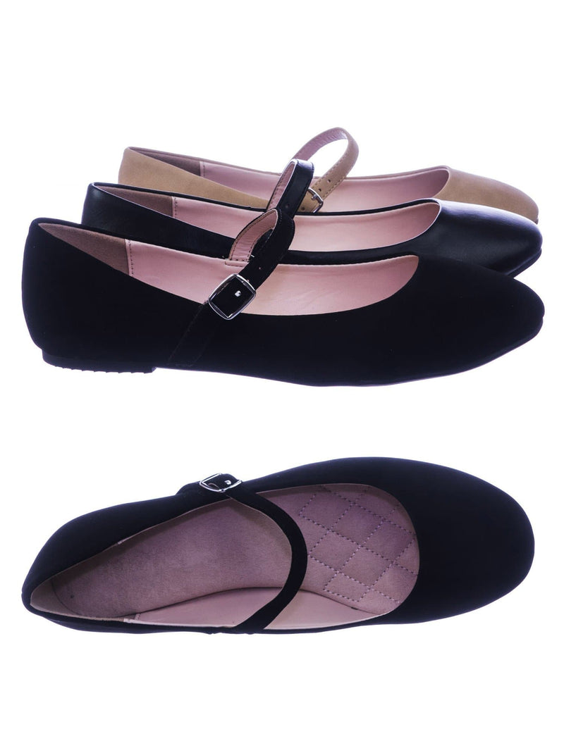 Hookup BlackNubuck Women Comfortable Padded Mary-Jane Round Toe Ballet Ballarina Flats