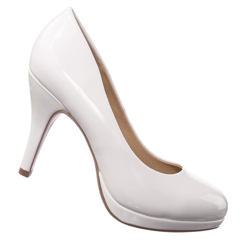 Jack WhitePat Comfortable Foam Pad Round Toe Classic High Heel Pump, Wedding Office Shoe