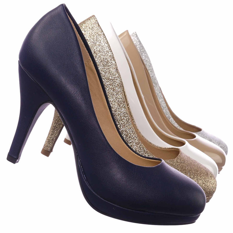 Jack NavyPu Comfortable Foam Pad Round Toe Classic High Heel Pump, Wedding Office Shoe