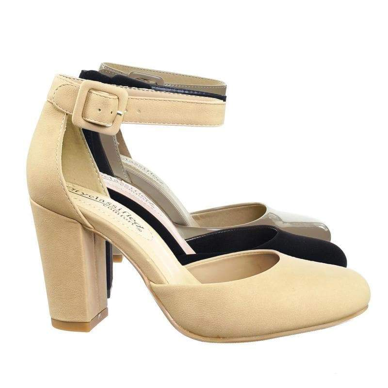 Kaili NatNbPu Chunky Block Heel Dress Pump w Comfortable Foam Padding & Ankle Strap