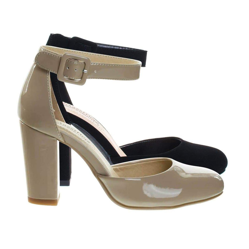 Kaili DkBegPat Chunky Block Heel Dress Pump w Comfortable Foam Padding & Ankle Strap