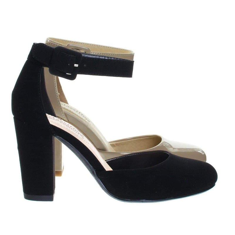 Kaili BlackNbPu Chunky Block Heel Dress Pump w Comfortable Foam Padding & Ankle Strap