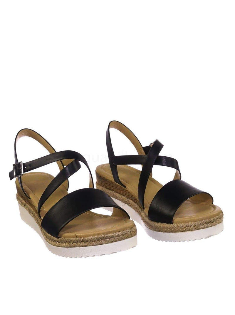 Black Pu / Much BlackPu Espadrille Wood Wedge Sandal - Womens Open Toe w White Sharktooth Outsole