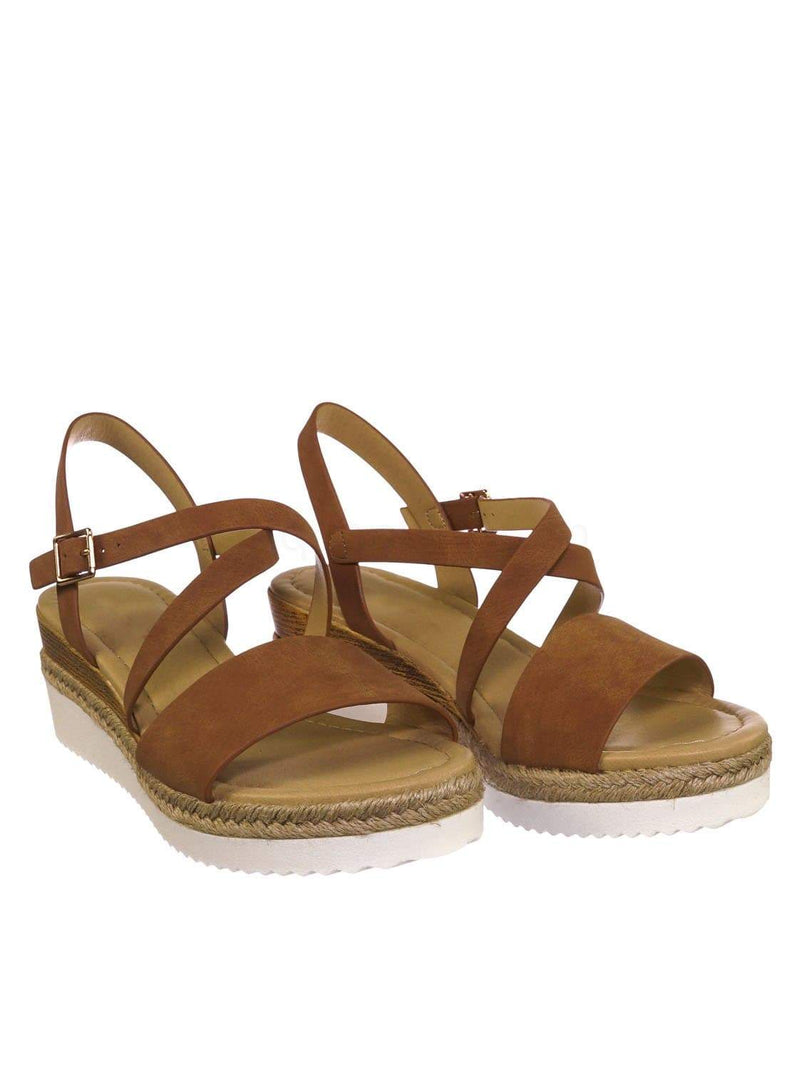 Tan Brown / Much TanNbPu Espadrille Wood Wedge Sandal - Womens Open Toe w White Sharktooth Outsole