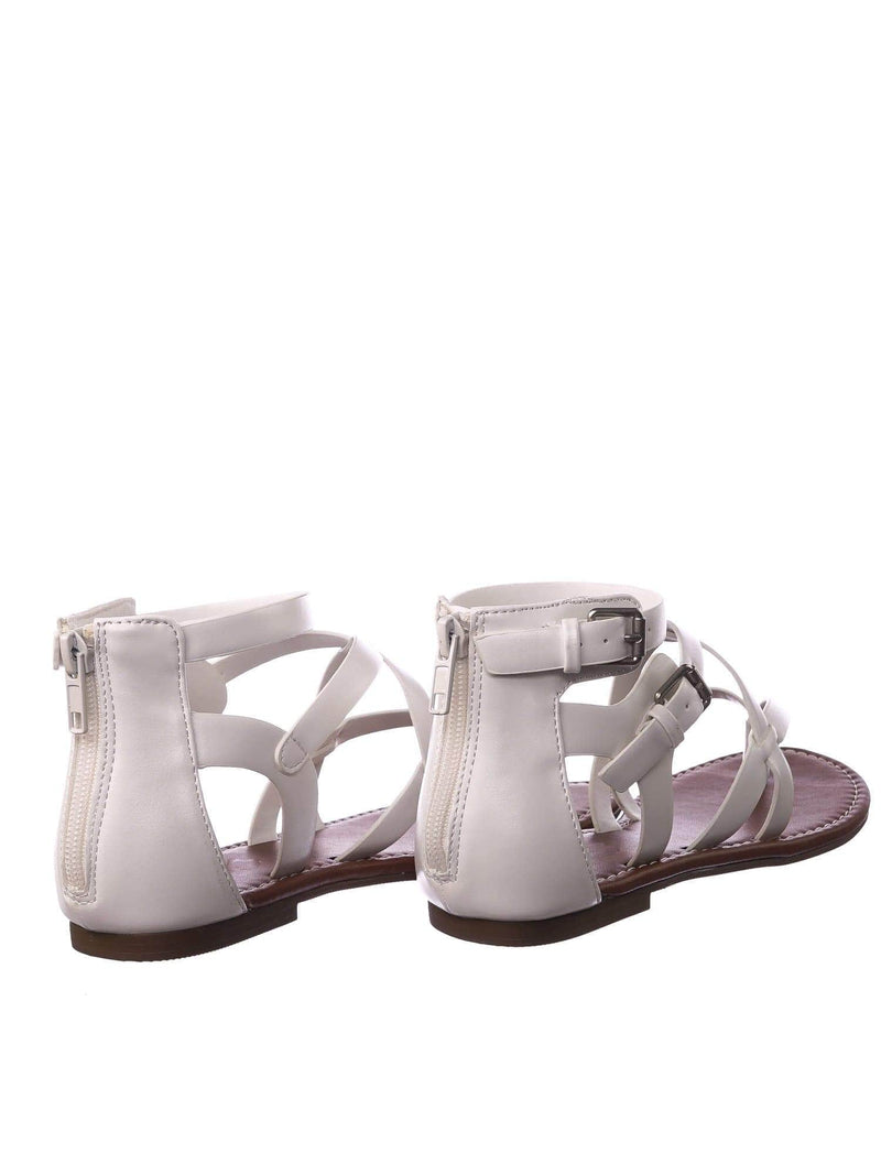 Perfect WhitePu Womens Roman Gladiator Strappy Sandals