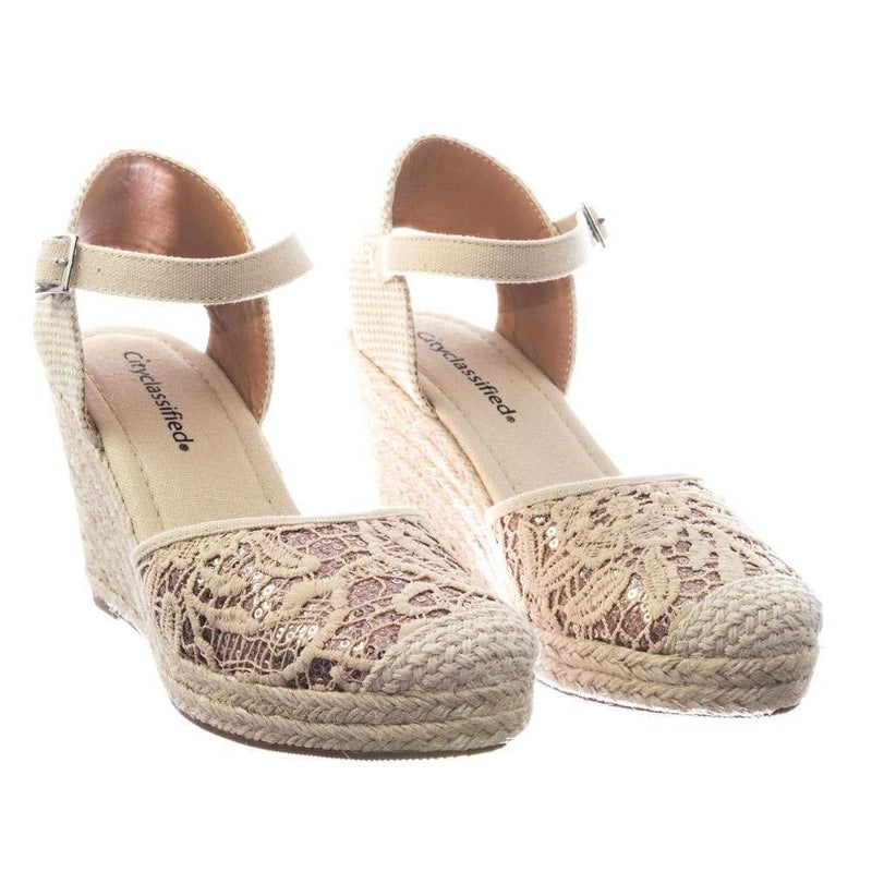 Queena by City Classified Espadrille Platform Wedge w Floral Crochet Lace w Sequins Shoes