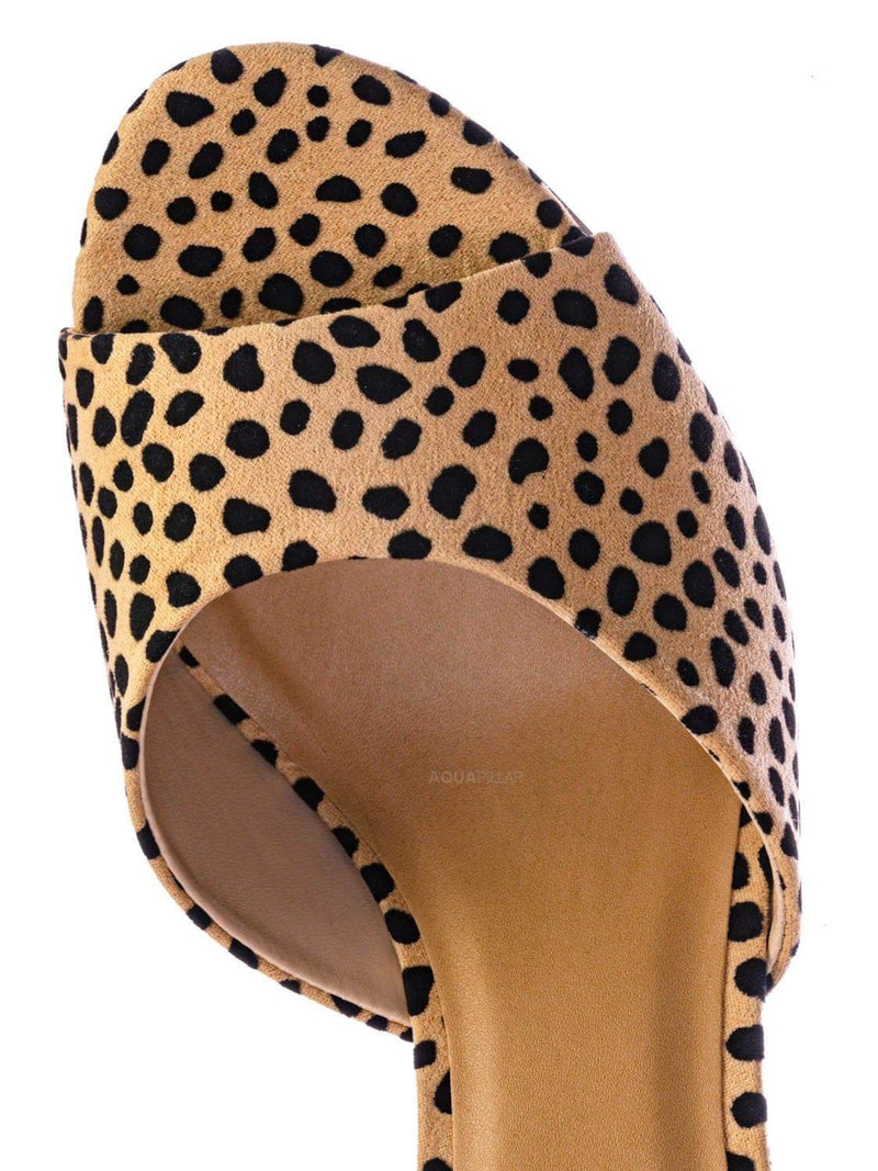 Cheeta Natural / Rescue Dressy Mule Stiletto High Heels - Womens Open Peep Toe Slip On Pumps