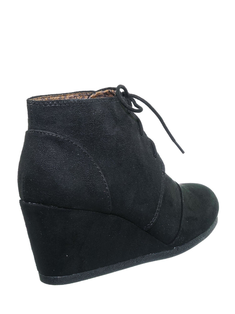 Black F-Suede / Rex Black F-Suede  Hidden Wedge Heel Bootie - Women Lace Up Oxford Ankle Boots