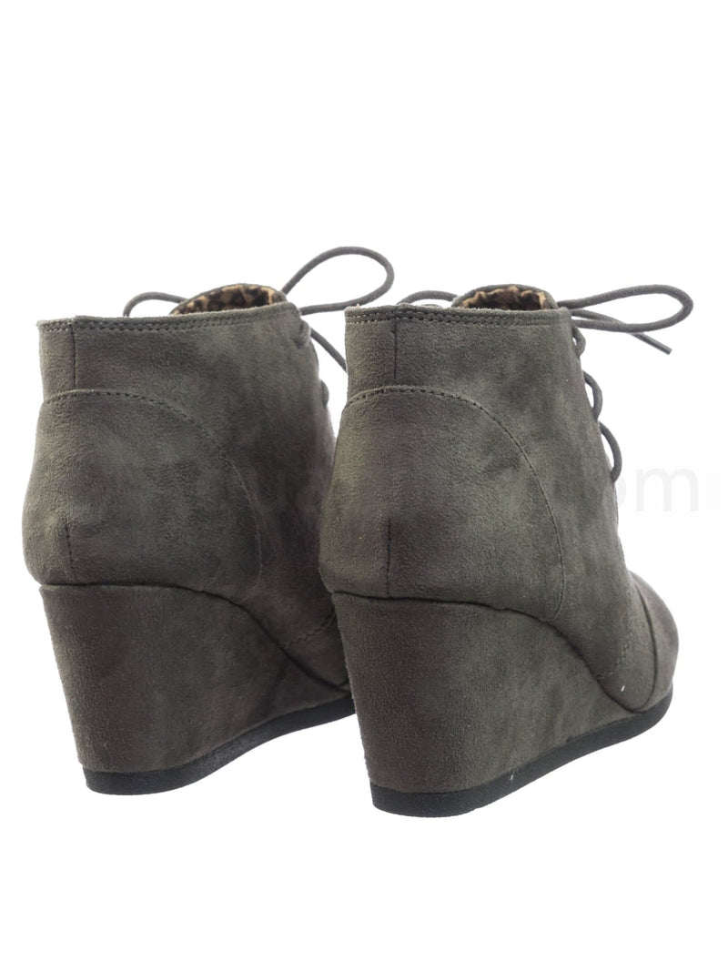 Charcoal Gray / Rex Charcoal Gray Hidden Wedge Heel Bootie - Women Lace Up Oxford Ankle Boots