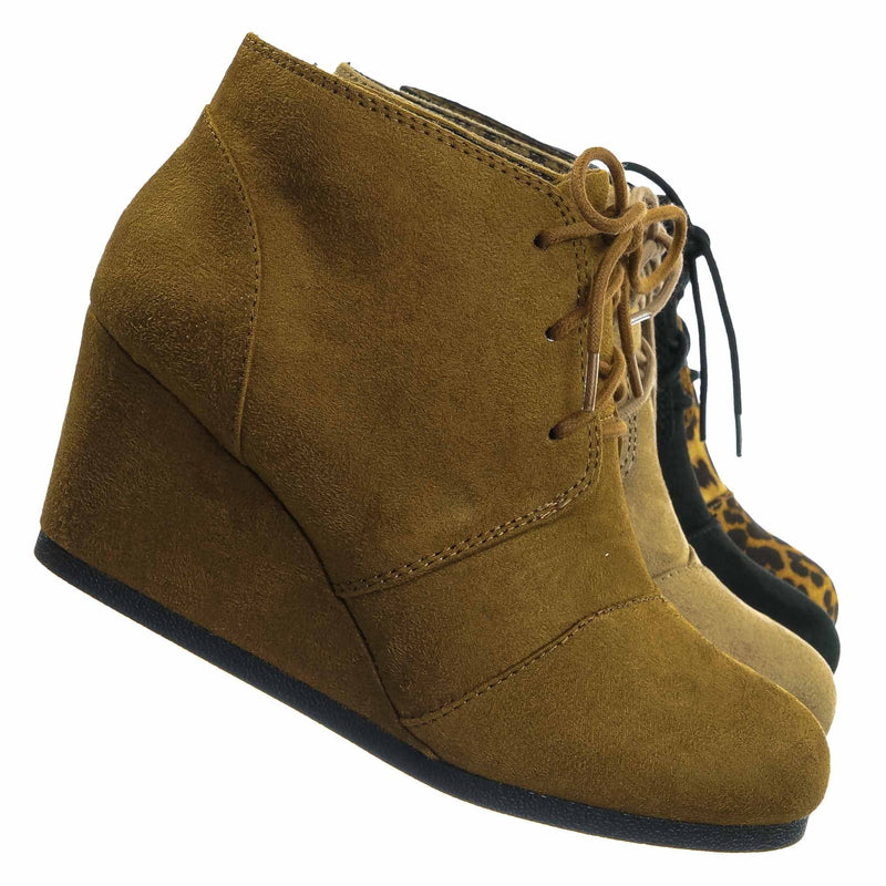 Hazel Imsu / Rex Hazel Imsu  Hidden Wedge Heel Bootie - Women Lace Up Oxford Ankle Boots