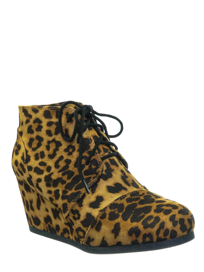 Tan Cheetah / Rex Tan Cheetah Hidden Wedge Heel Bootie - Women Lace Up Oxford Ankle Boots