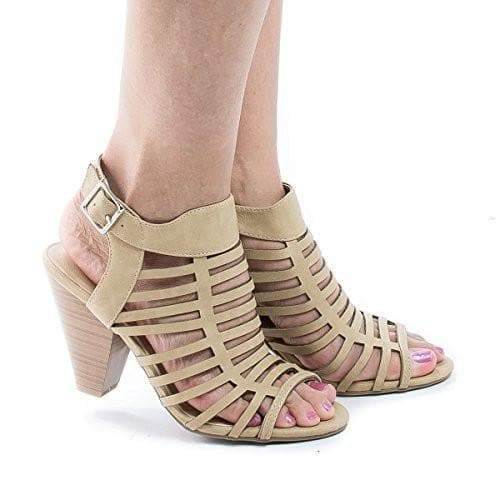 Russell Tan Pu By City Classified, Gladiator Strappy Open Toe Sling Back Stacked Heel Sandals