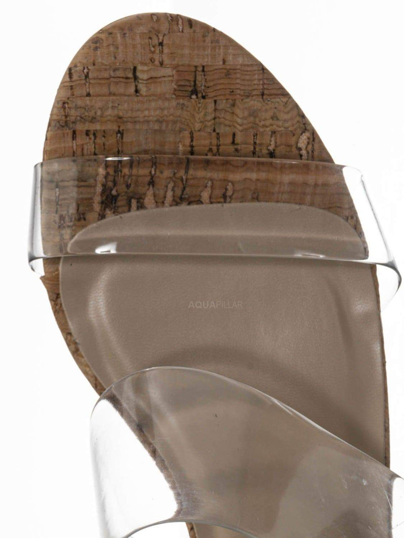 Cork Clear / Soap Transparent Block Heel Mule - 90s Retro Lucite Clear Twin Strap Slides