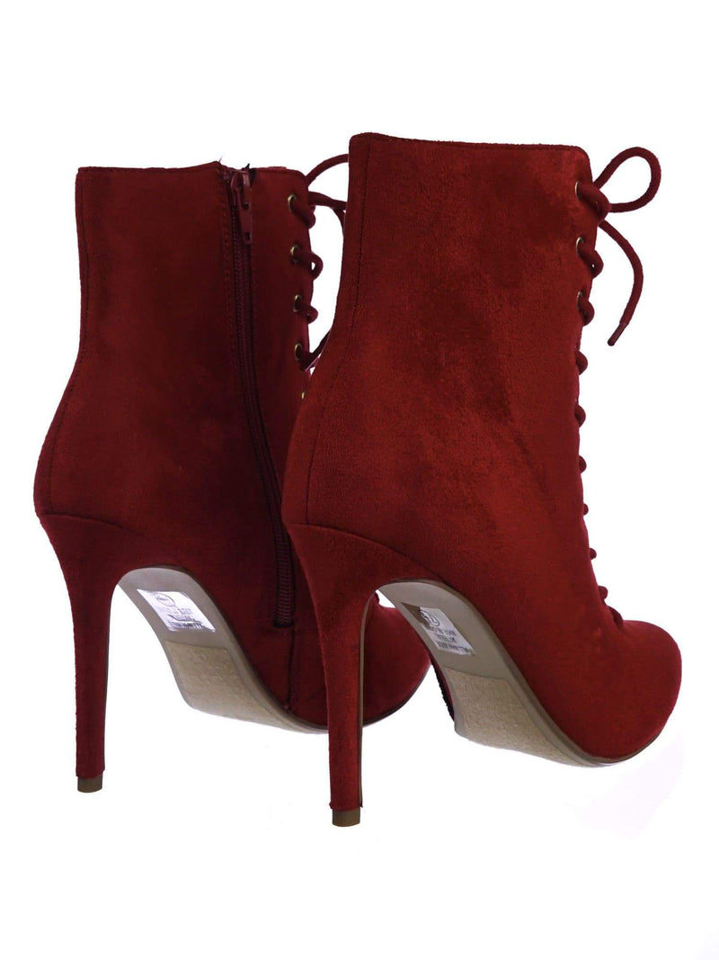 Stain BrRdSu High Heel Combat Lace Up Ankle Bootie w Pointed Toe & Corset