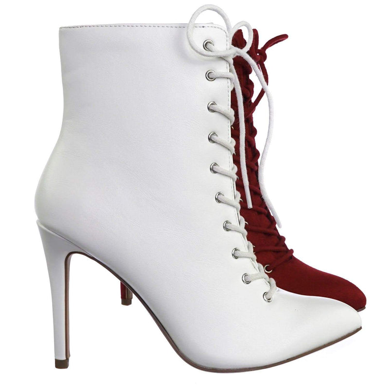 Stain WhitePu High Heel Combat Lace Up Ankle Bootie w Pointed Toe & Corset