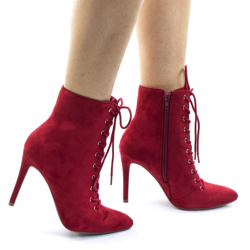 Stain LipIsu High Heel Combat Lace Up Ankle Bootie w Pointed Toe & Corset