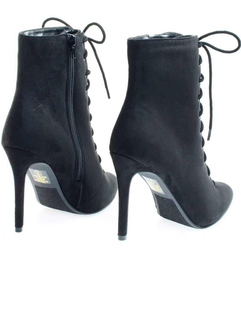 Stain BlackIsu High Heel Combat Lace Up Ankle Bootie w Pointed Toe & Corset